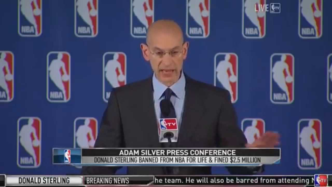 5ce39cfc1ac3 Adam Silver Bans Donald Sterling from NBA Press Conference - YouTube