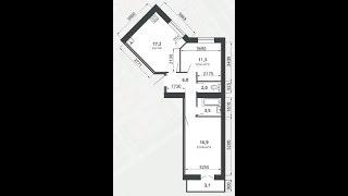 Южный город, Квартал 4, Дом 5, Подъезд 3, Комнат 2, Площадь квартиры 58,67 м2