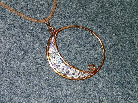 Lunar Eclipse Pendant With Sparkling Crystal Diy Wire