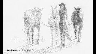 Cómo bocetear una chica y caballos garabateando - Narrado