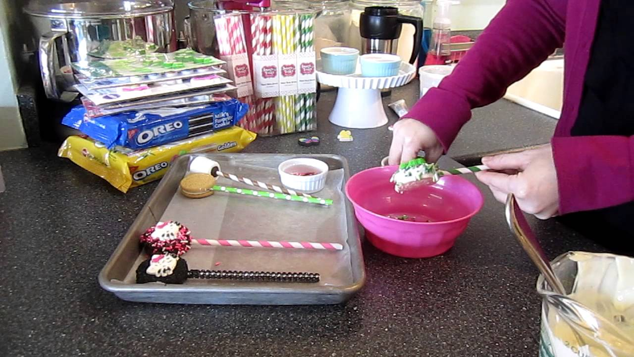 Dipped Oreos For Baby Shower Part - 43: How To Make Chocolate Dipped Cookie Pops - YouTube