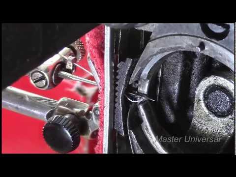 Подольская швейная машина. Носик челнока далеко от иглы. Образование петли.Видео №57.