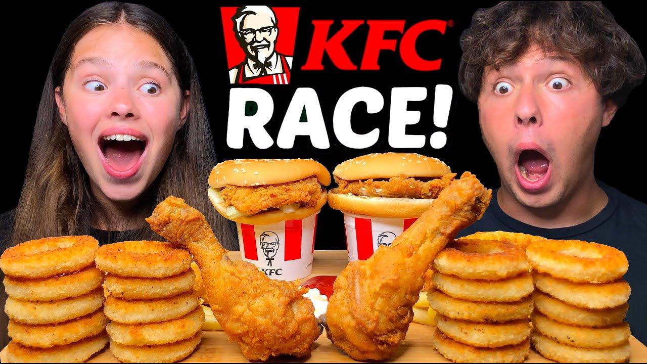 ASMR KFC RACE! FRIED CHICKEN, ONION RINGS, CHICKEN SANDWICHES MUKBANG EATING SOUNDS 먹방 Tati ASMR