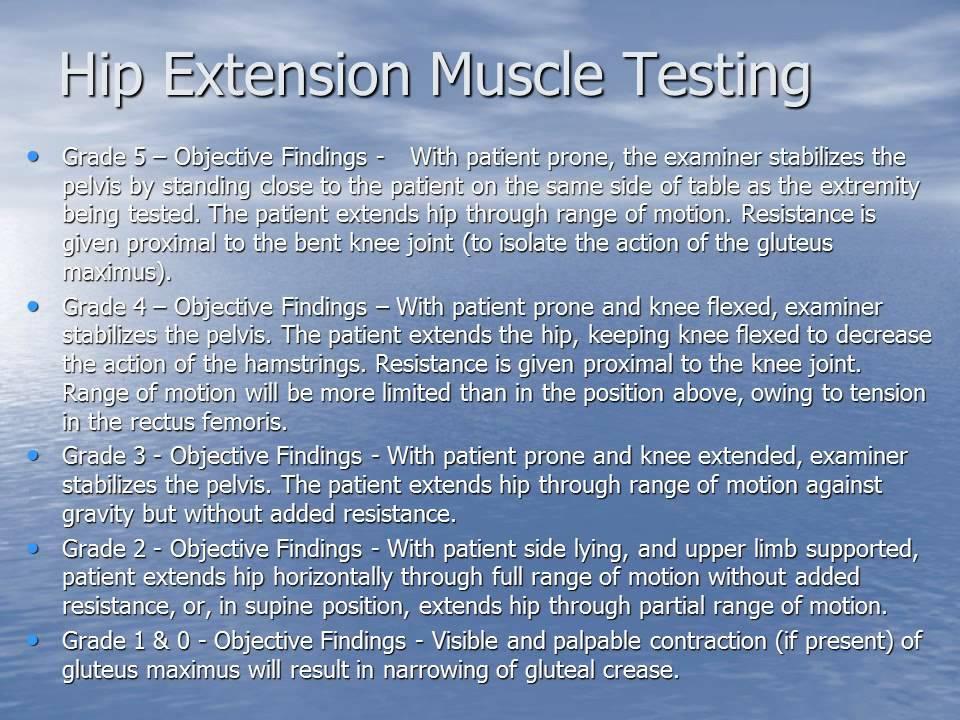 Manual muscle testing (mmt).