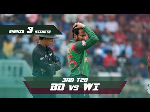 Shakib Al Hasan's 3 Wickets Against Windies | 3rd T20 | Windies tour of Bangladesh 2018