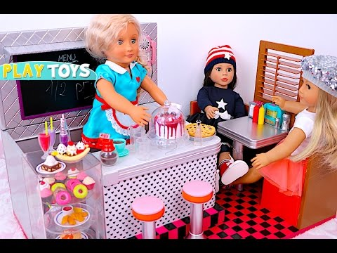 Thumbnail: Baby Doll Kitchen toys - playing burger & ice cream shop pretend play for kids