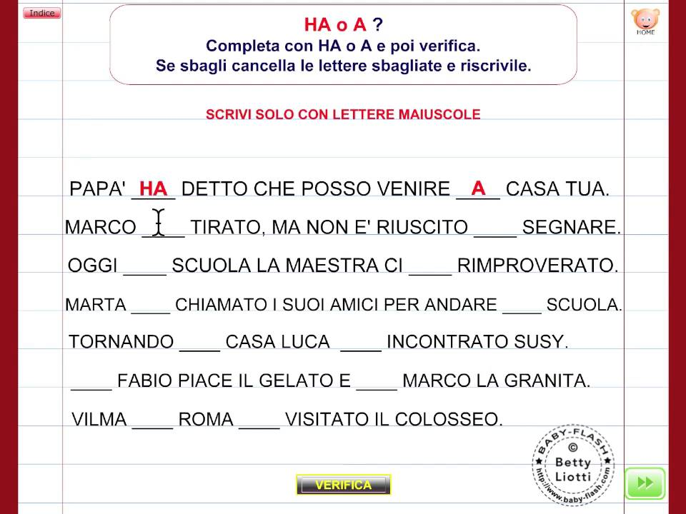 Italiano 31 esercizio con a ha youtube for Baby flash italiano doppie