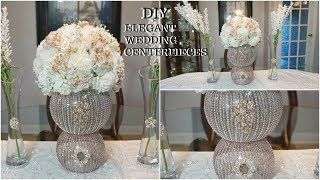 DIY ROSE GOLD GLAM WEDDING CENTERPIECE FT. TOTALLY DAZZLED BLING NEW GEMS