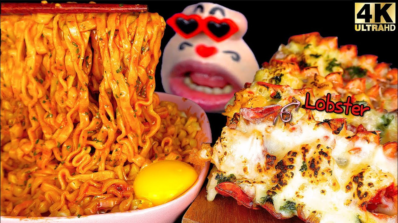 "ASMR MUKBANG ""CARBO"" Fire Noodles & LOBSTER with butter cheese REALSOUND EATING SHOW"