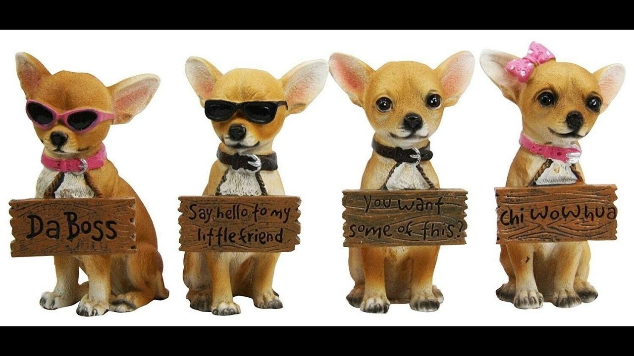 """4.25/"""" Height Set of 4 Tea Cup Chihuahua Dog Holding Humorous Signs Figurine Gift"""