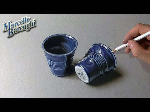 Drawing time lapse: violet pottery coffee cups – hyperrealistic art