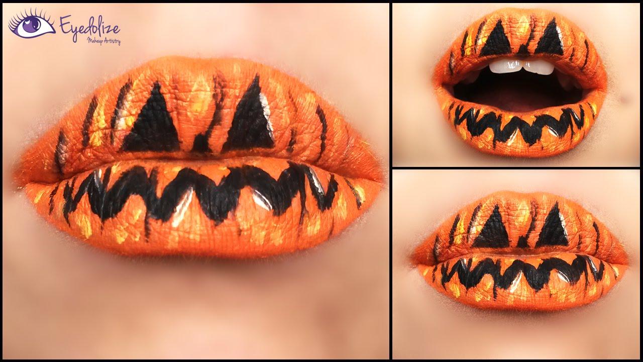 Pumpkin Lipstick Halloween Makeup Tutorial by EyedolizeMakeup ...