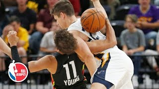 Grayson Allen, Trae Young get into a scuffle, both receive technical fouls | ESPN thumbnail