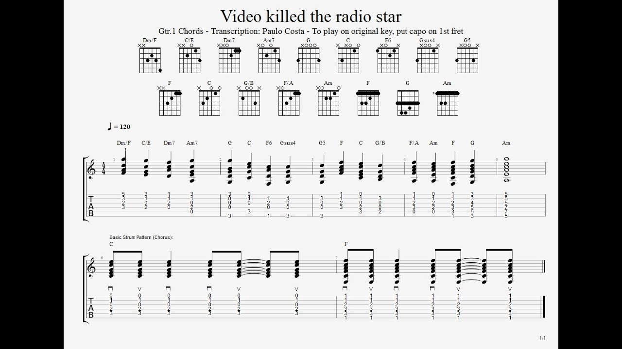 video killed the radio star the buggles tutorial cover tab guitar chords youtube. Black Bedroom Furniture Sets. Home Design Ideas