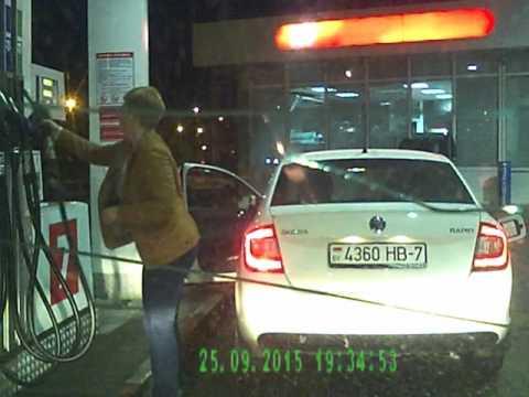 Epic fail: Woman at the petrol station