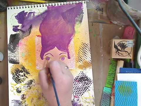 How to-Paint a face on a mixed media background