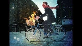 В трусах зимой на велосипеде))) In winter Cycling shorts)))