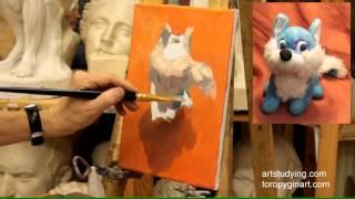 Этюд лисенка - Обучение живописи. Масло. Введение, серия 7.2