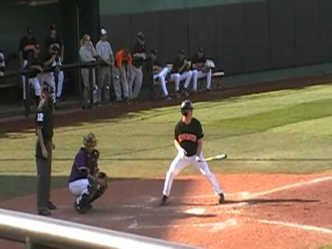 Marcus Knecht an Oklahoma State University Freshman gets first hit - a 3 run shot 2009