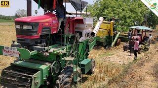 Mahindra harvester pulling John Deere harvester stuck in mud | Come To Village