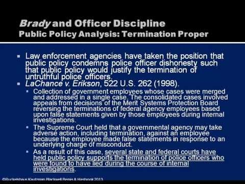 Brady v  Maryland  Employment Implications for Police Officers