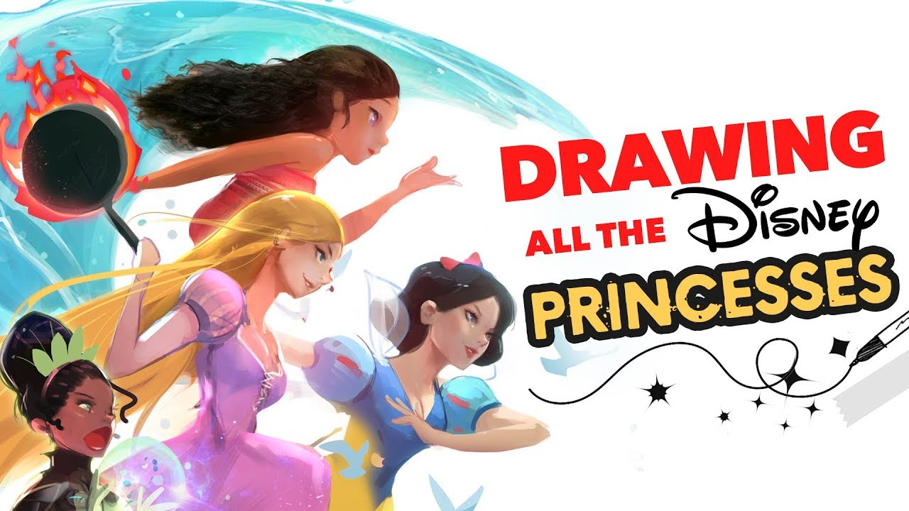 Drawing All The Disney Princesses D Youtube