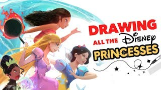 DRAWING ALL THE DISNEY PRINCESSES! :D (Wreck it Ralph)