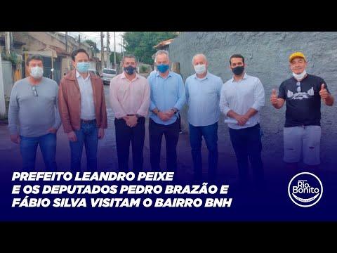 PREFEITO LEANDRO PEIXE E OS DEPUTADOS PEDRO BRAZÃO E FÁBIO SILVA VISITAM O BAIRRO BNH