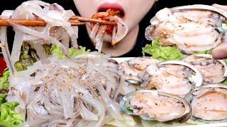 ASMR 오징어회, 전복회 리얼사운드 먹방 RAW SQUID, RAW ABALONE EATING SOUND MUKBANG