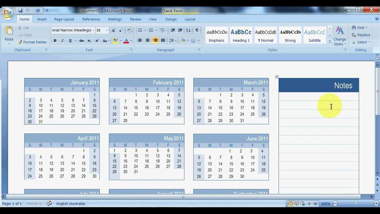 creating calendars in word