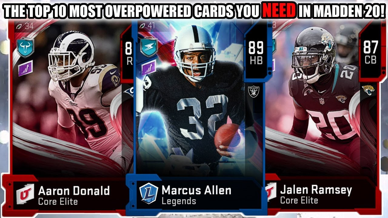 THE TOP 10 MOST OVERPOWERED CARDS YOU NEED IN MADDEN 20! | MADDEN 20 ULTIMATE TEAM - YouTube