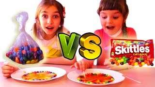 DIY Skittles Rainbow vs Cheap Candy Rainbow! Kids science experiment learning colors with Skittles!