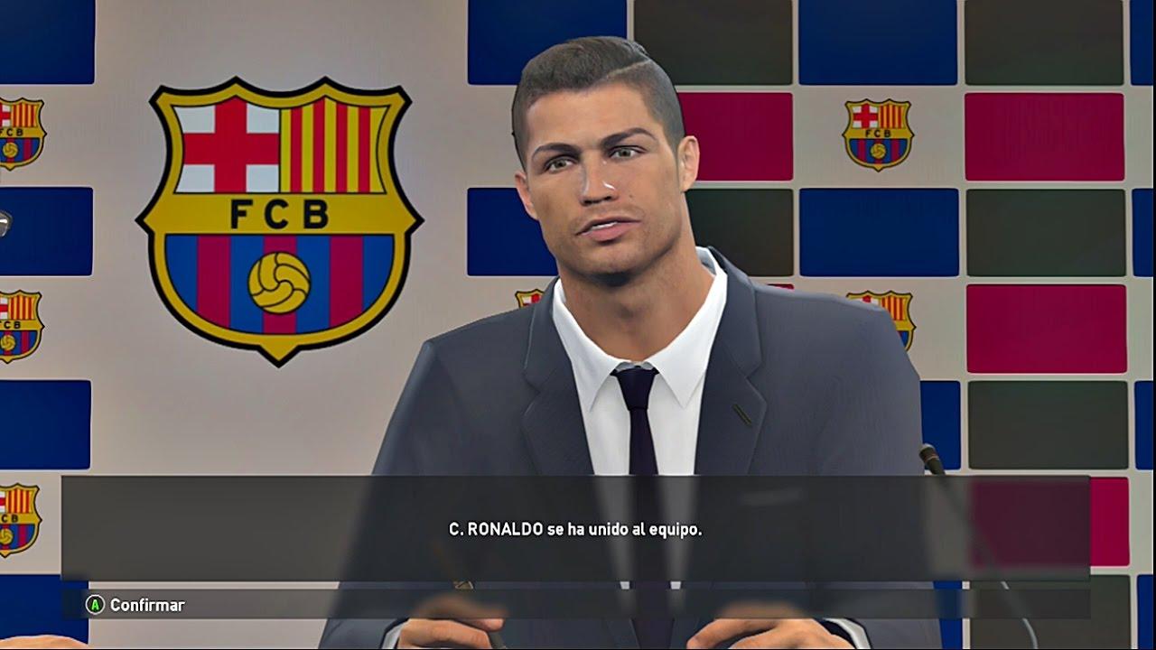 CRISTIANO RONALDO FICHA POR EL FC BARCELONA!! - PES 2017 Liga master #15 - YouTube