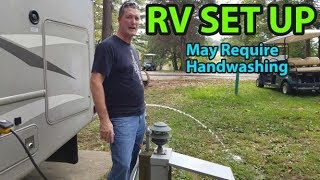 Our Motorhome RV Campsite Setup || Campsite set up with full hookups.
