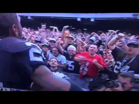 "Charles Woodson singing ""Raiders!"""