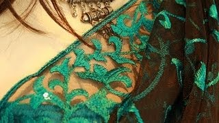 Black net with teal scrolls       https://www.facebook.com/ShamaBoutique Thumbnail