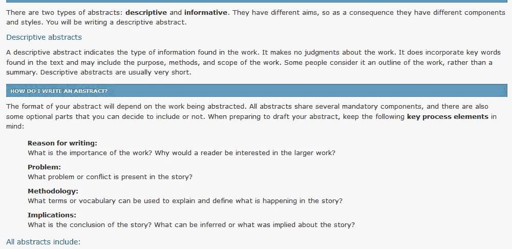 what does it mean to write an abstract