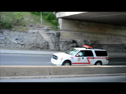 LAVAL QUEBEC FIRE TRUCK LADDER 402 & CHIEF RESPONDING
