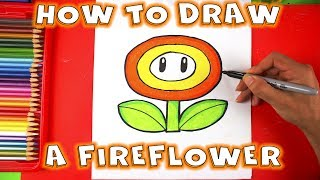 How to Draw a Fire flower From Super Mario Bros - How to Draw A Flower Step by Step