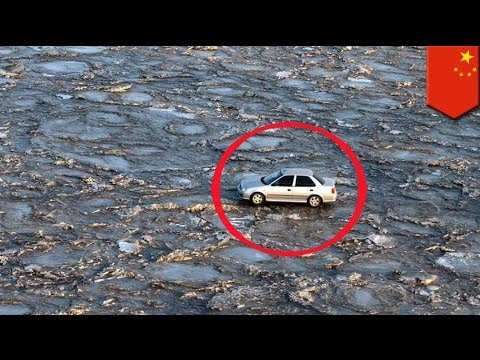 Motorist drives across frozen Yellow River in China to avoid toll