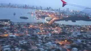 Aterrizando en el Aeropuerto Internacional de Cartagena de Indias (Vuelo Avianca), Colombia