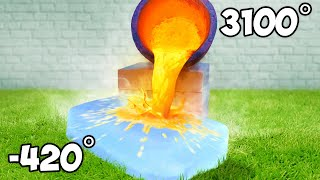Molten Lava Vs Giant Ice Block Experiment
