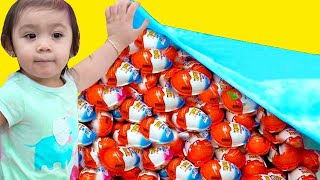 Baby Maddie Pretend Play with Chocolate Toys Eggs Surprises