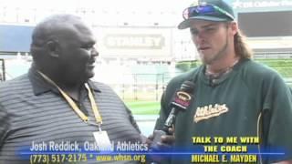 JOSH REDDICK, OAKLAND ATHLETICS & COACH MAYDEN