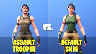 Fortnite ASSAULT TROOPER vs. DEFAULT SKIN - Side by Side Comparison