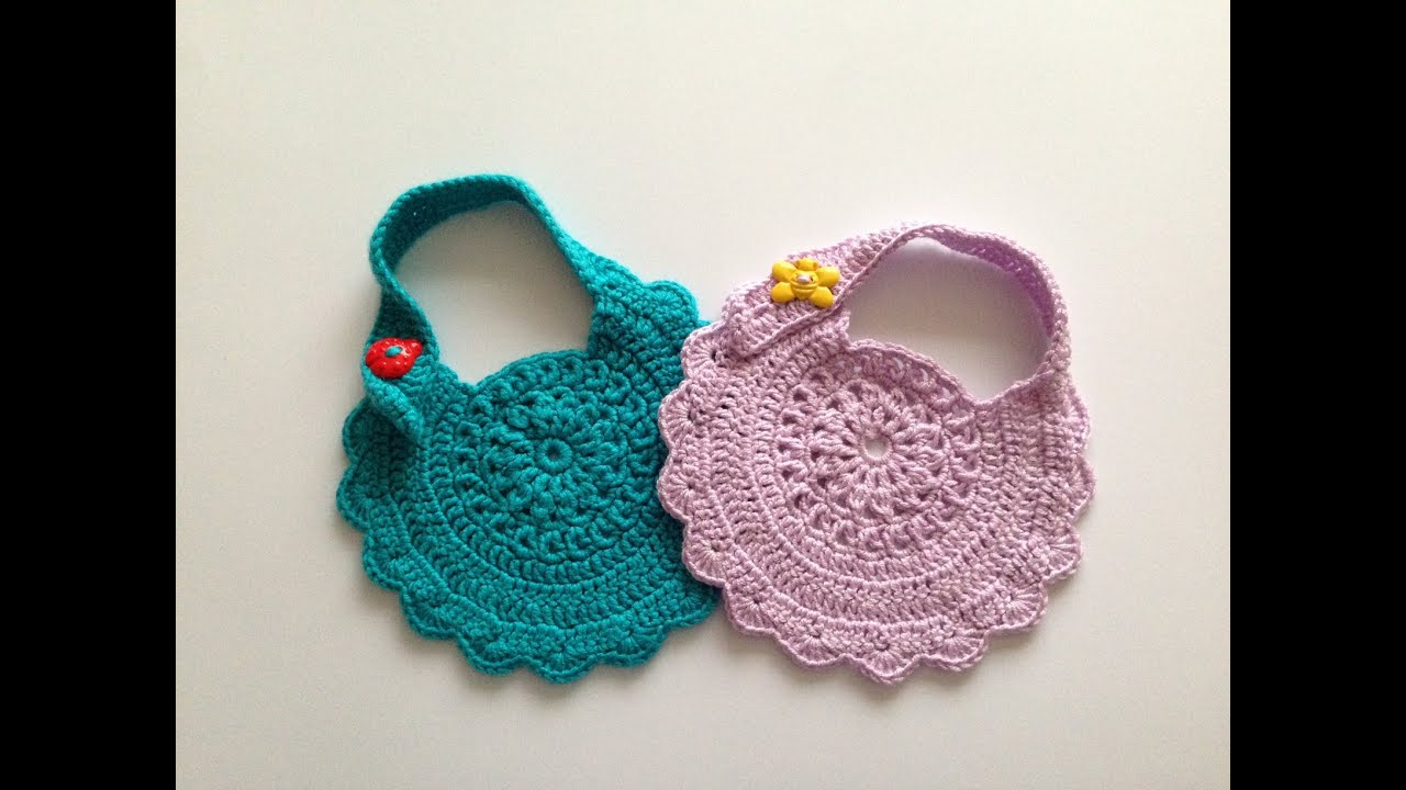 How to crochet baby bib motif 2 - YouTube