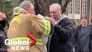 Revived dog reunites with emotional owner after house fire