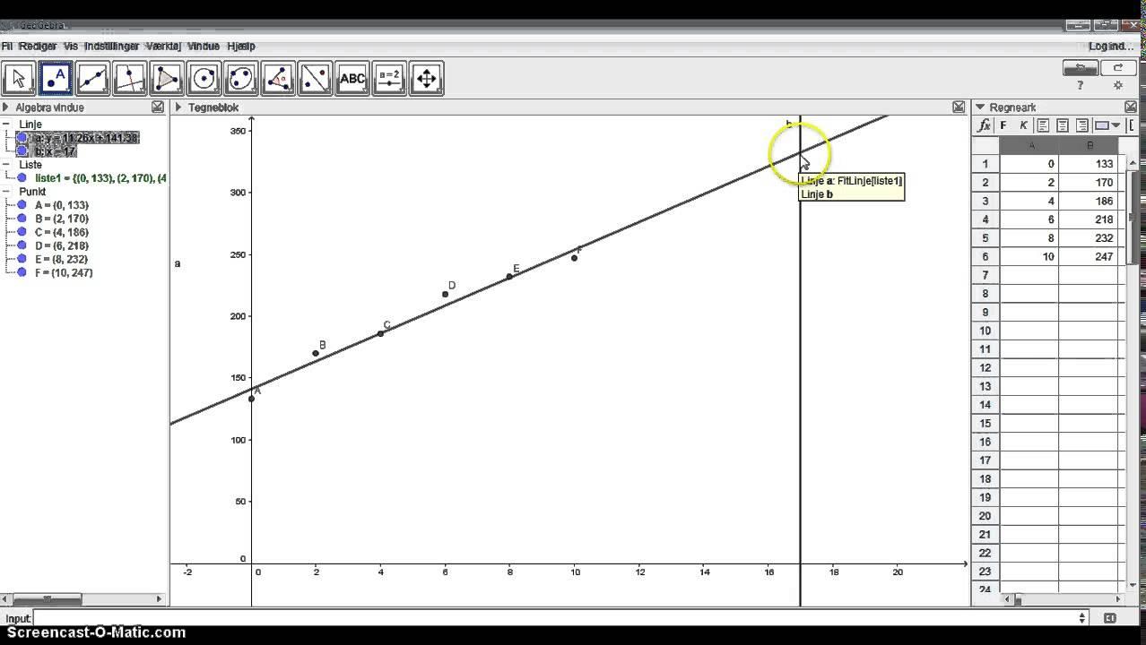 Lineær regression i GeoGebra