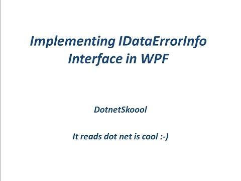 IDataErrorInfo Interface in WPF