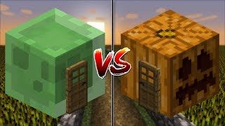 Minecraft SLIME HOUSE VS PUMPKIN HOUSE MAKE YOUR OWN HOUSE IN MINECRAFT Minecraft Mods
